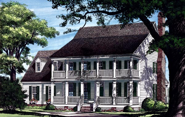 Colonial, Farmhouse, Southern House Plan 86217 with 4 Beds, 4 Baths, 2 Car Garage Elevation