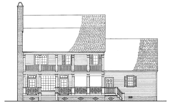 Colonial, Farmhouse, Southern House Plan 86217 with 4 Beds, 4 Baths, 2 Car Garage Rear Elevation