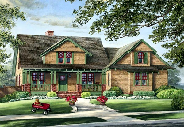 House Plan 86220 | Bungalow Craftsman Style Plan with 2012 Sq Ft, 3 Bedrooms, 2 Bathrooms, 2 Car Garage Elevation