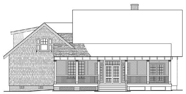 Bungalow , Craftsman House Plan 86220 with 3 Beds, 2 Baths, 2 Car Garage Rear Elevation