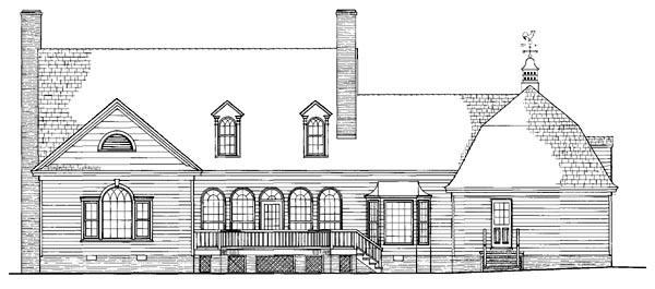 Cape Cod , Colonial , Farmhouse , Southern House Plan 86222 with 4 Beds, 4 Baths, 2 Car Garage Rear Elevation