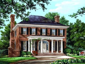Colonial , Plantation , Southern House Plan 86225 with 4 Beds, 5 Baths, 2 Car Garage Elevation