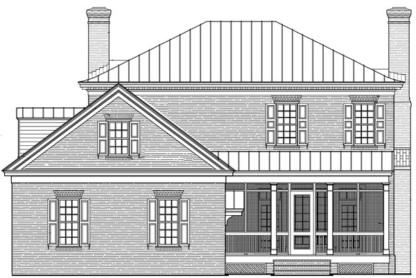 Colonial Plantation Southern House Plan 86225 Rear Elevation