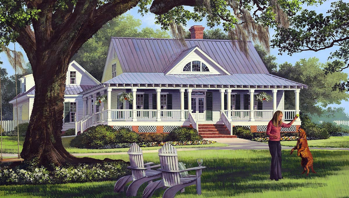 click here to see an even larger picture cottage country farmhouse traditional house plan - Country Home Plans