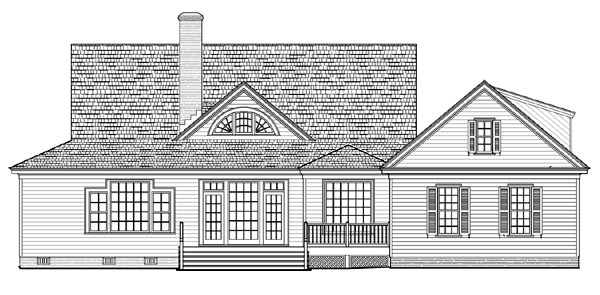 Cottage, Country, Farmhouse, Traditional, House Plan 86226 with 4 Beds, 3 Baths, 2 Car Garage Rear Elevation
