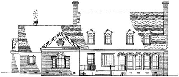 Cape Cod Colonial Cottage Country Farmhouse Southern Traditional House Plan 86227 Rear Elevation