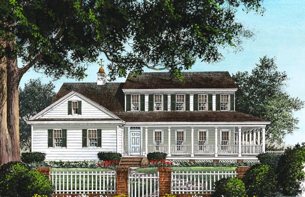 Colonial Country Farmhouse Southern House Plan 86230 Elevation