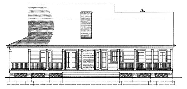 Colonial Country Farmhouse Southern House Plan 86230 Rear Elevation