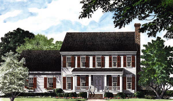 Colonial , Country , Traditional House Plan 86235 with 3 Beds, 3 Baths, 2 Car Garage Elevation