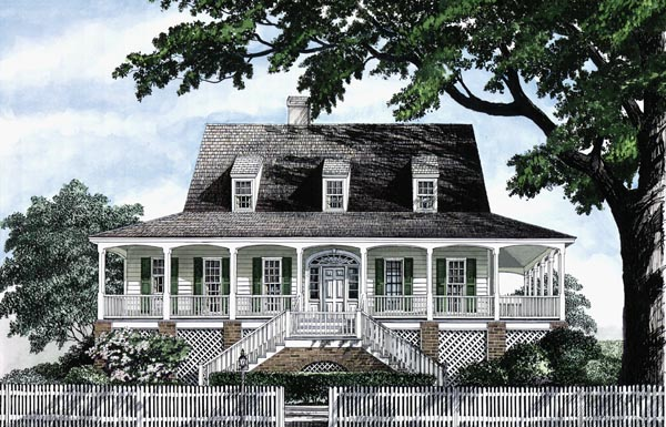 Colonial Cottage Country Craftsman Farmhouse Southern Traditional Elevation of Plan 86236