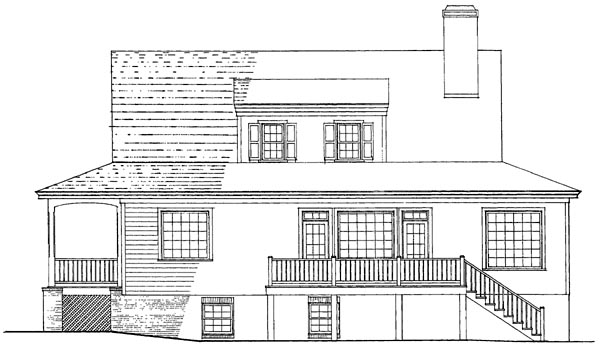 Colonial Cottage Country Craftsman Farmhouse Southern Traditional Rear Elevation of Plan 86236