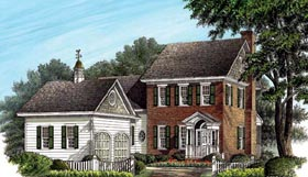 House Plan 86238 | Colonial, Traditional Style House Plan with 2474 Sq Ft, 4 Bed, 4 Bath, 2 Car Garage Elevation