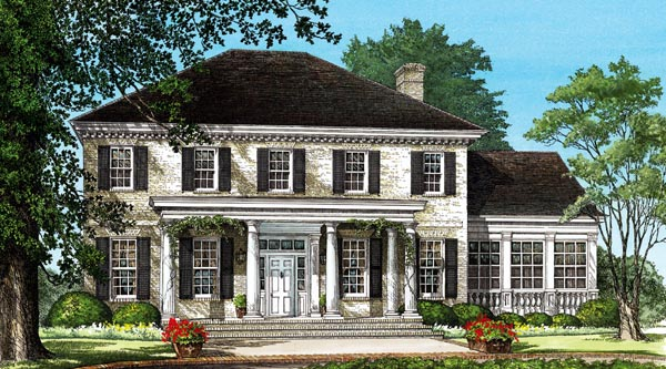 Southern , Plantation , Colonial House Plan 86242 with 4 Beds, 4 Baths, 2 Car Garage Elevation