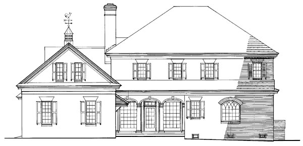 Southern , Plantation , Colonial House Plan 86242 with 4 Beds, 4 Baths, 2 Car Garage Rear Elevation