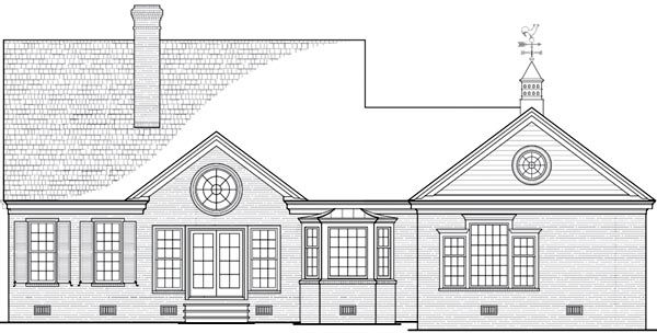 House Plan 86243 | Cottage, Country Style House Plan with 2096 Sq Ft, 3 Bed, 2 Bath, 2 Car Garage Rear Elevation