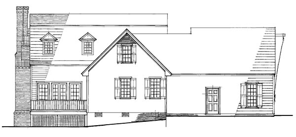 Colonial House Plan 86247 with 4 Beds, 4 Baths, 2 Car Garage Rear Elevation