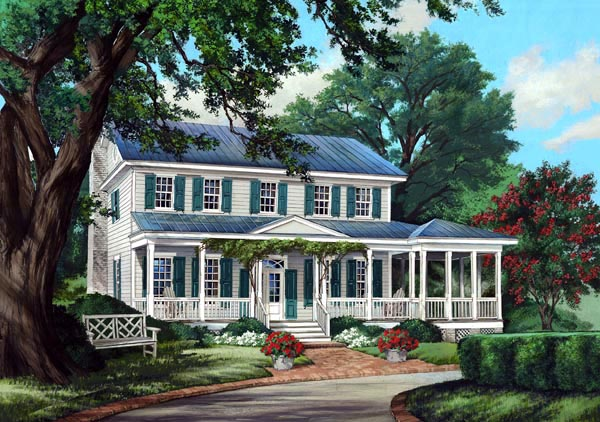 Colonial Country Farmhouse Traditional Elevation of Plan 86248