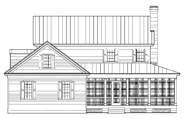 Colonial Country Farmhouse Traditional Rear Elevation of Plan 86248