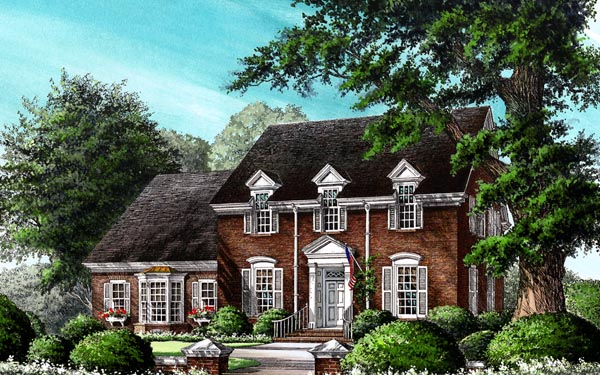 Colonial, Traditional House Plan 86254 with 4 Beds, 4 Baths, 2 Car Garage Front Elevation