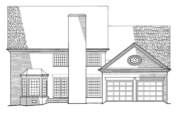 Colonial , Traditional House Plan 86254 with 4 Beds, 4 Baths, 2 Car Garage Rear Elevation