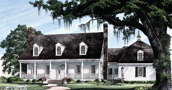 Cape Cod Colonial Cottage Country Southern Traditional Elevation of Plan 86258