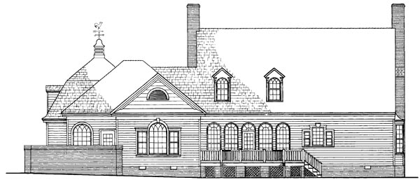 Cape Cod Colonial Cottage Country Southern Traditional Rear Elevation of Plan 86258