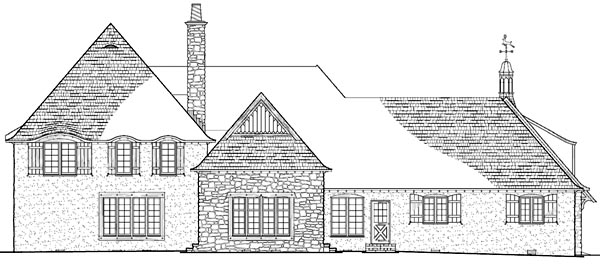 Country European Plantation Rear Elevation of Plan 86260
