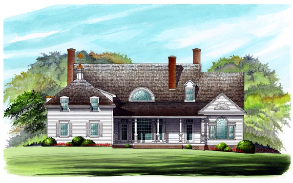 Colonial Cottage Country Farmhouse Southern Traditional House Plan 86262 Rear Elevation
