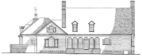 Cape Cod Colonial Cottage Country Plantation Southern Rear Elevation of Plan 86270