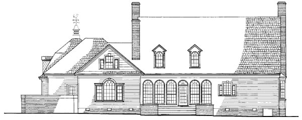 Cape Cod Colonial Cottage Country Plantation Southern House Plan 86270 Rear Elevation