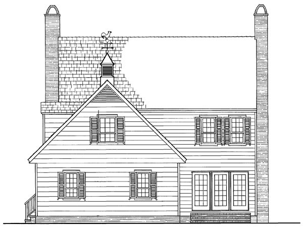 Colonial, Traditional House Plan 86272 with 3 Beds, 3 Baths, 2 Car Garage Rear Elevation