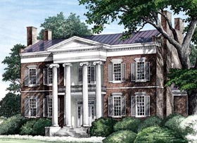 Southern , Plantation , Colonial House Plan 86274 with 4 Beds, 6 Baths, 3 Car Garage Elevation