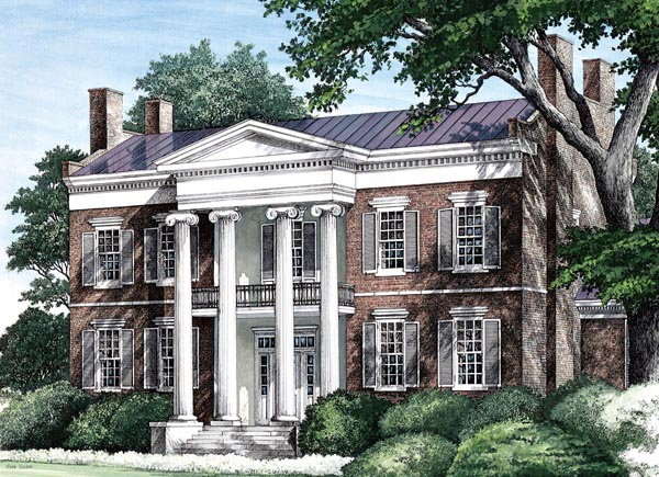 Colonial, Plantation, Southern House Plan 86274 with 4 Beds, 6 Baths, 3 Car Garage Elevation