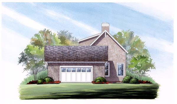 Cape Cod, Country, Craftsman, Traditional House Plan 86276 with 3 Beds, 3 Baths, 2 Car Garage Rear Elevation