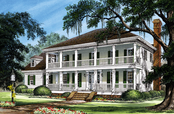 Colonial Cottage Country Farmhouse Southern Traditional House Plan 86277 Elevation