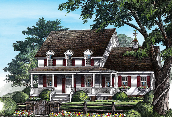 Cottage, Country House Plan 86278 with 4 Beds, 4 Baths, 2 Car Garage Front Elevation