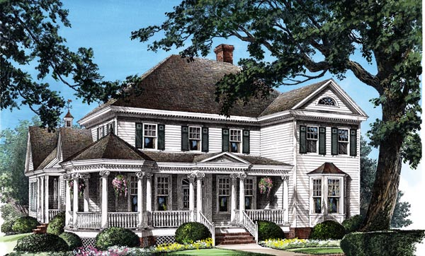 Colonial Farmhouse Southern Victorian House Plan 86280 Elevation