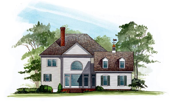 Rear Elevation of Colonial   Farmhouse  Southern   Victorian   House Plan 86280