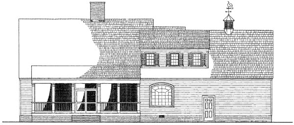 Colonial Southern Traditional Rear Elevation of Plan 86286