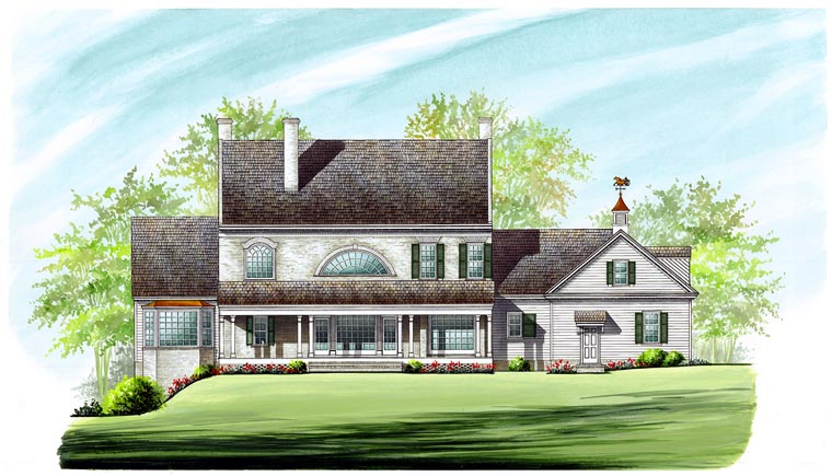 Colonial Plantation Southern House Plan 86287 Rear Elevation