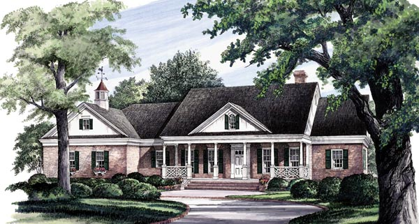 Colonial , Ranch , Southern , Traditional House Plan 86290 with 3 Beds, 3 Baths, 2 Car Garage Elevation