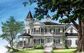 House Plan 86291 | Farmhouse Southern Victorian Style Plan with 3131 Sq Ft, 4 Bed, 4 Bath, 2 Car Garage Elevation