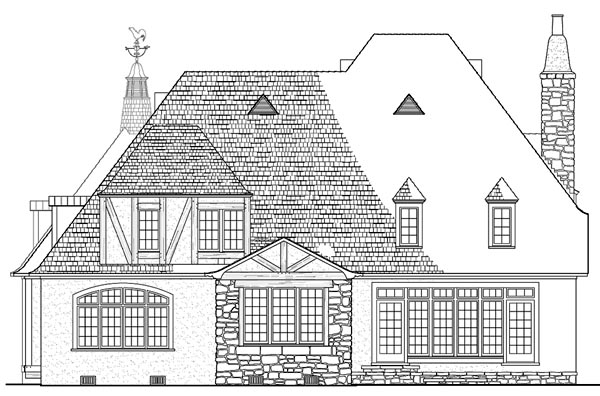 Country European Rear Elevation of Plan 86293
