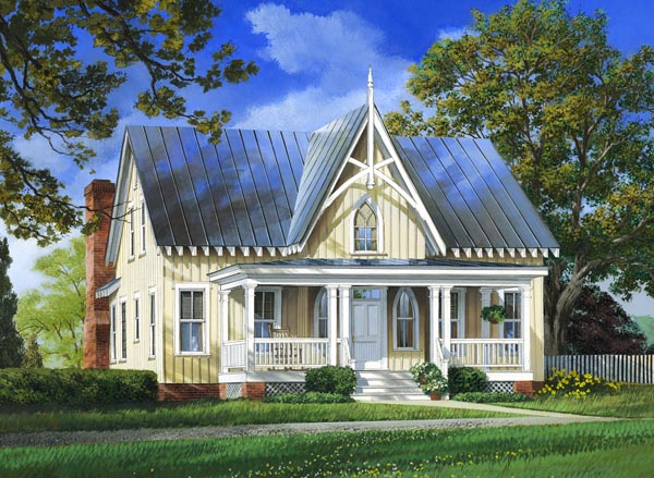 Cottage Country Farmhouse Elevation of Plan 86295