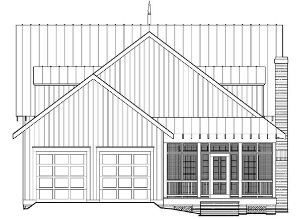 Cottage Country Farmhouse Rear Elevation of Plan 86295