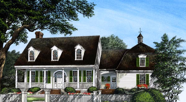 Colonial Cottage Country Farmhouse Southern House Plan 86296 Elevation