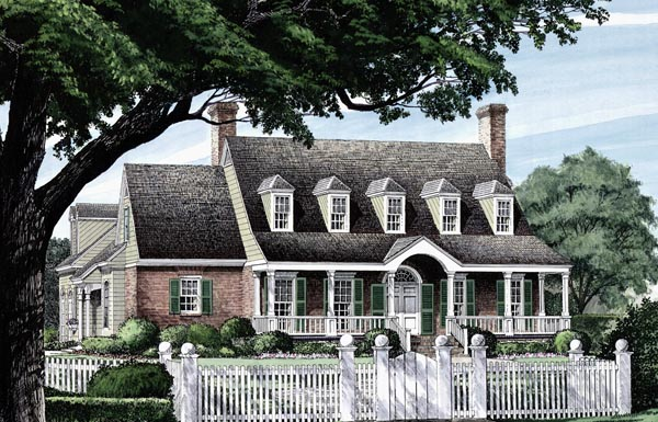 Colonial Cottage Country Farmhouse Southern Traditional House Plan 86297 Elevation
