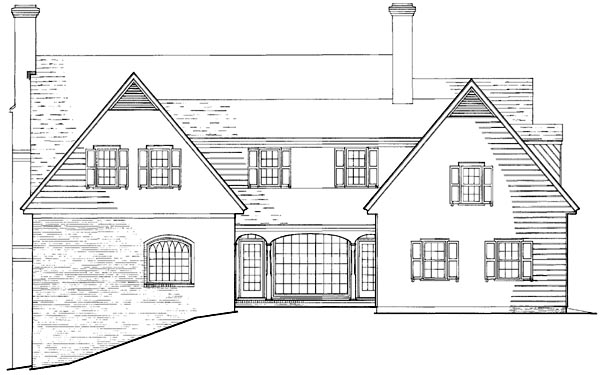 Colonial Cottage Country Farmhouse Southern Traditional House Plan 86297 Rear Elevation