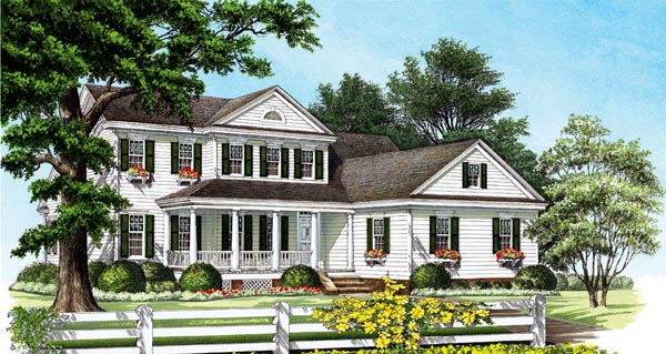 House Plan 86298 | Cottage Country Farmhouse Traditional Style Plan with 2397 Sq Ft, 3 Bedrooms, 3 Bathrooms, 2 Car Garage Elevation
