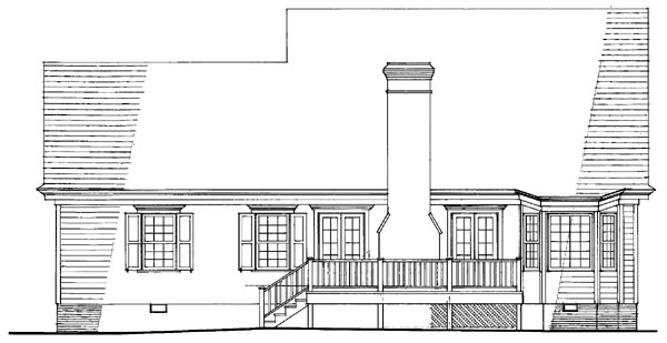 Cottage , Country , Farmhouse , Traditional House Plan 86298 with 3 Beds, 3 Baths, 2 Car Garage Rear Elevation